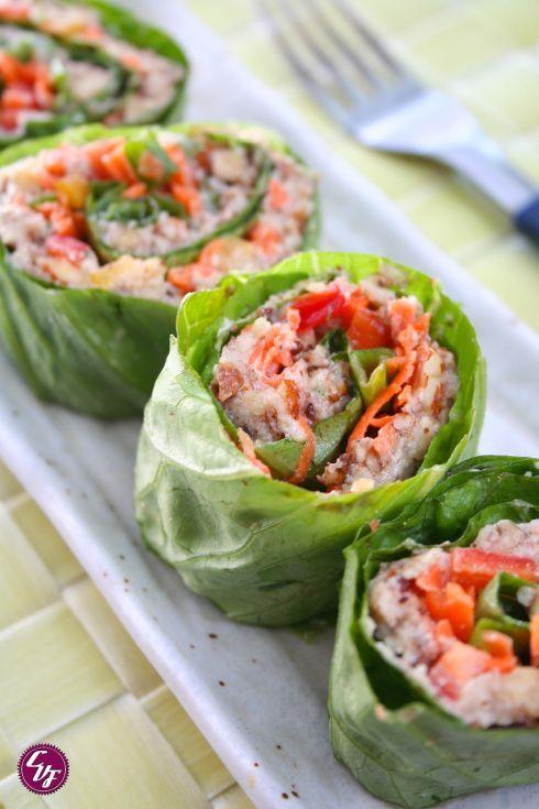 Rolls de lechuga lechuga enrollados y zanahorias - Comida vegetariana facil de preparar ...