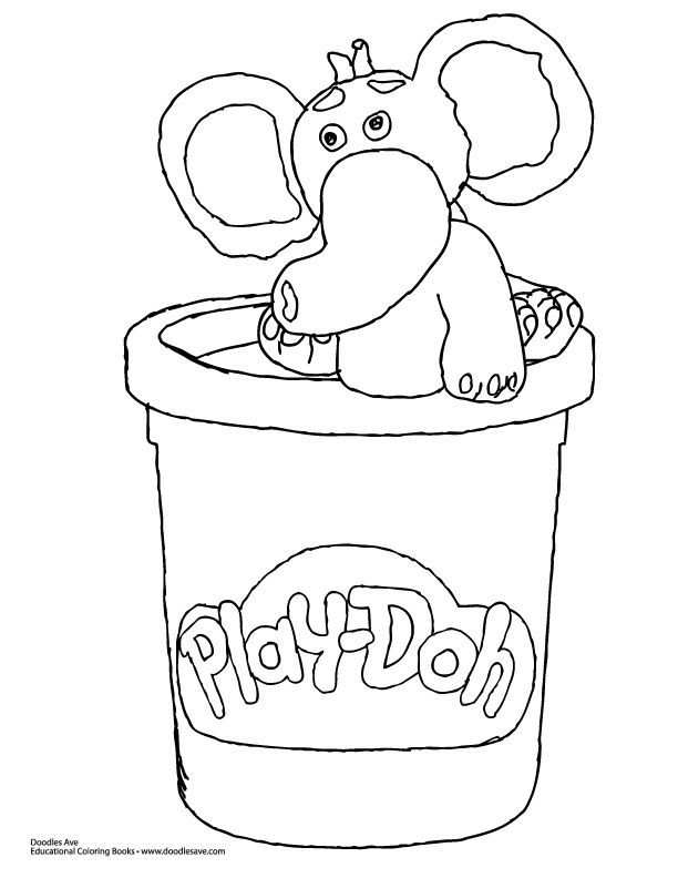 Happy Play Doh Day Holiday Kids Coloring Elephant Coloringsheet
