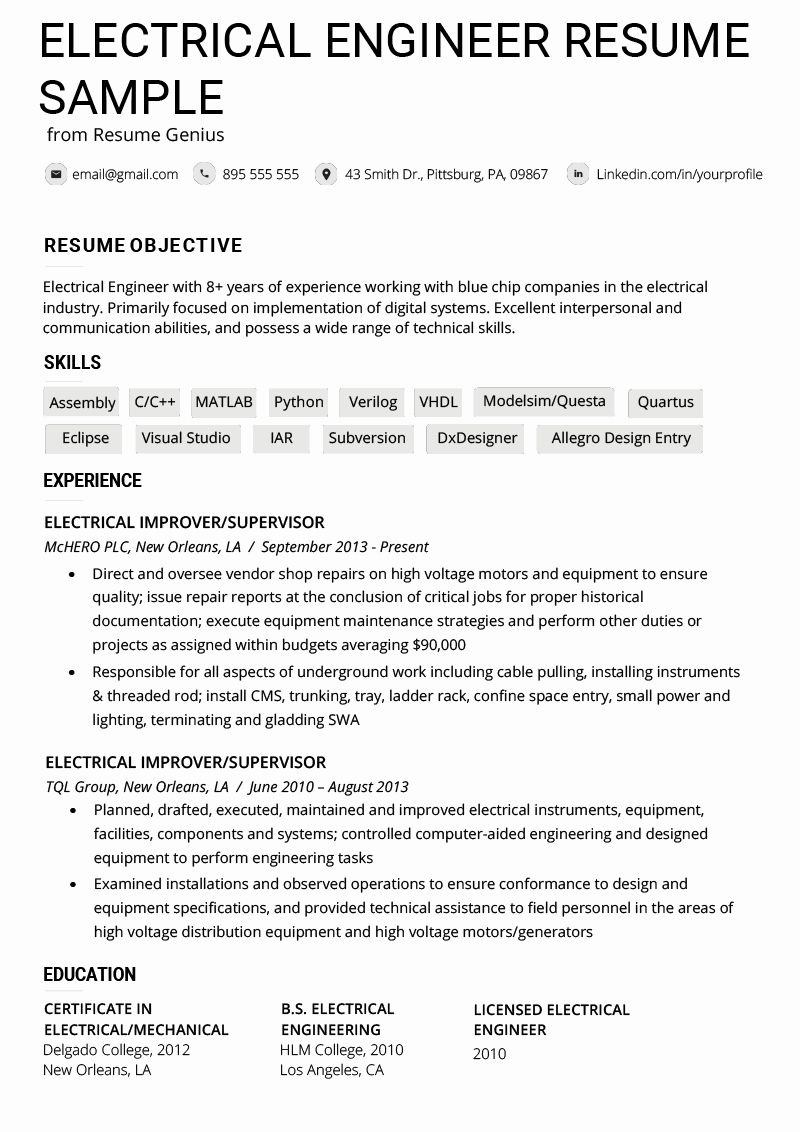 Electrical Engineer Resume Sample Beautiful Electrical Engineer Resume Example Writing T Engineering Resume Engineering Resume Templates Good Resume Examples