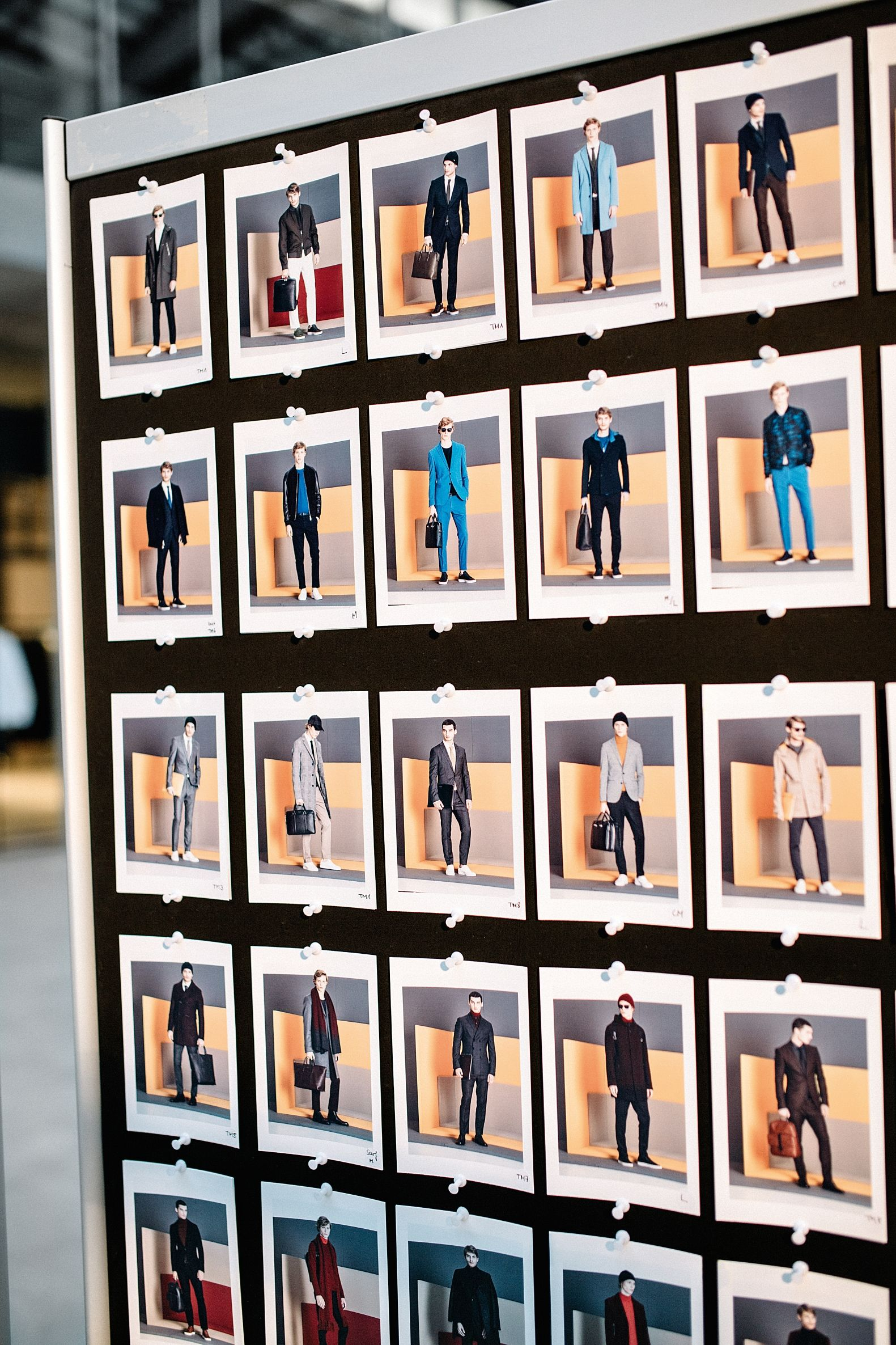 Photographs lined up from the BOSS Menswear Fall/Winter 2016 lookbook