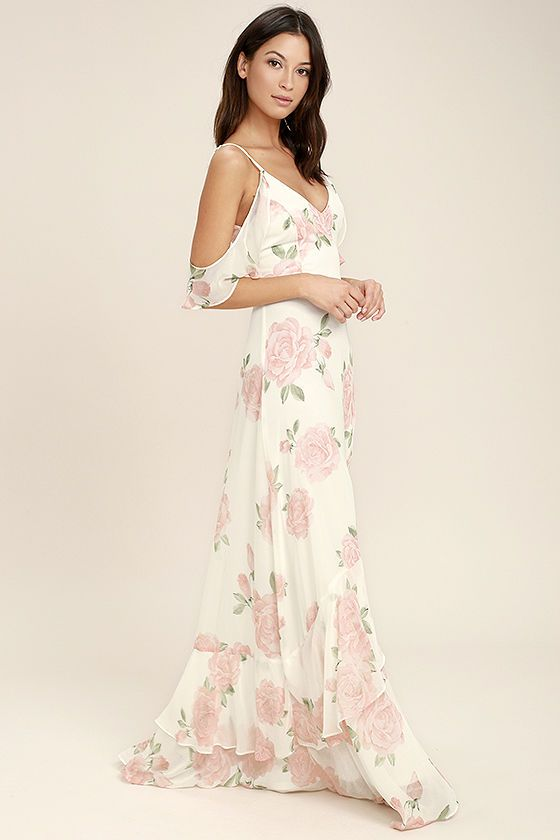 338dafbe91 The Take You There Ivory Floral Print Maxi Dress will transport you to lush  meadows! Lightweight ivory chiffon with an allover peach and green rose  print, ...