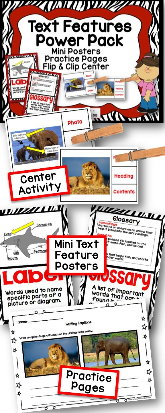 Text Features Power Pack With Mini Posters Center And Practice