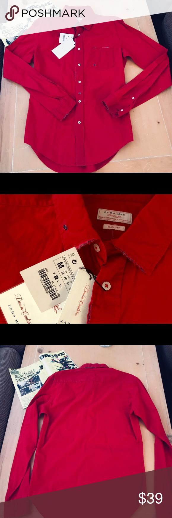 d5da2ccf5e5 🎲Zara Man Men s slim fit button up shirt (NWT)🎲 🎲ZARA Man Denim Couture Men s  slim fit Medium distressed style button up long sleeve shirt.