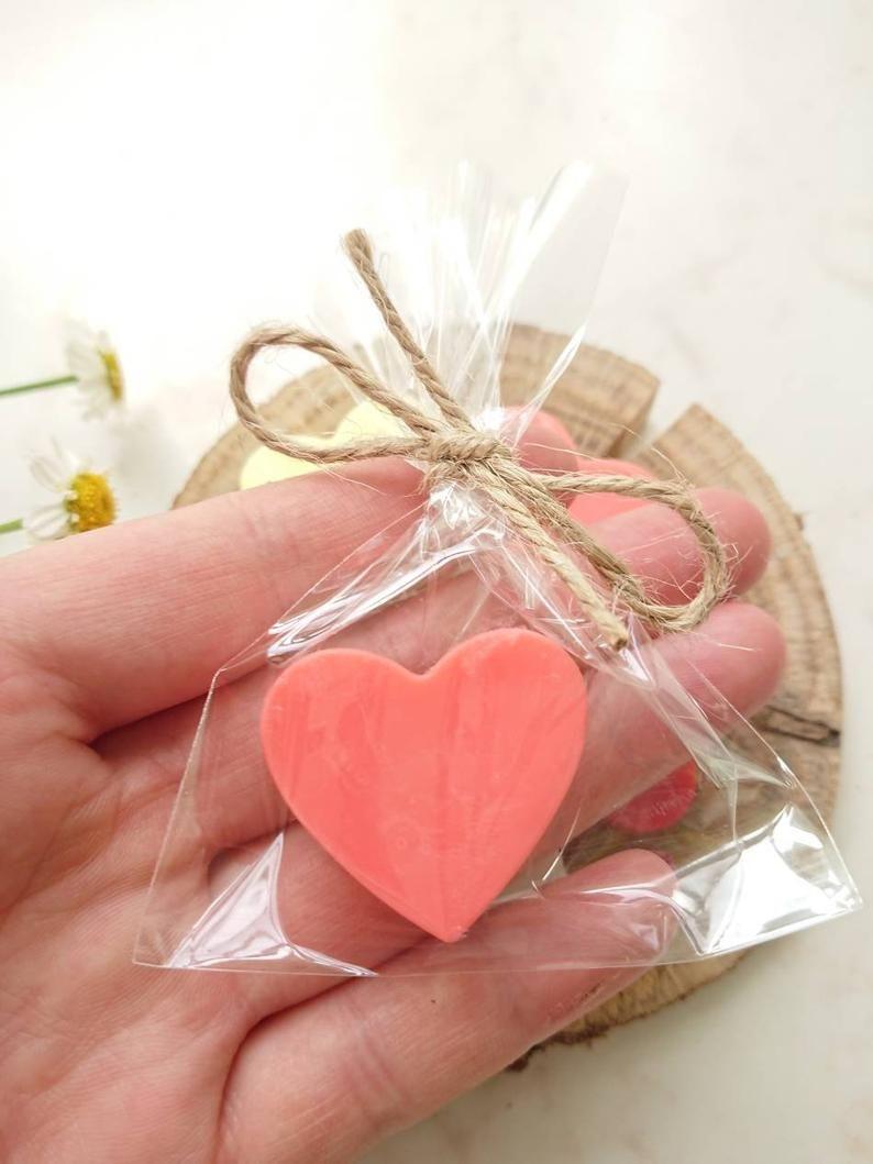 10pcs shades of orange heart soap heart shape wedding