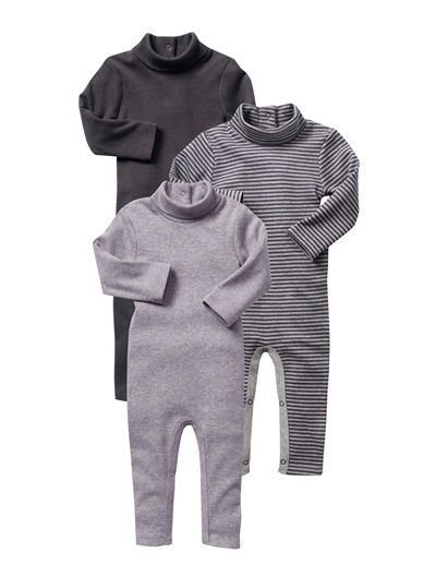9a06290f6 Happy Price Pack of 3 Baby Boy s bodysuits with long legs GREY DARK ...