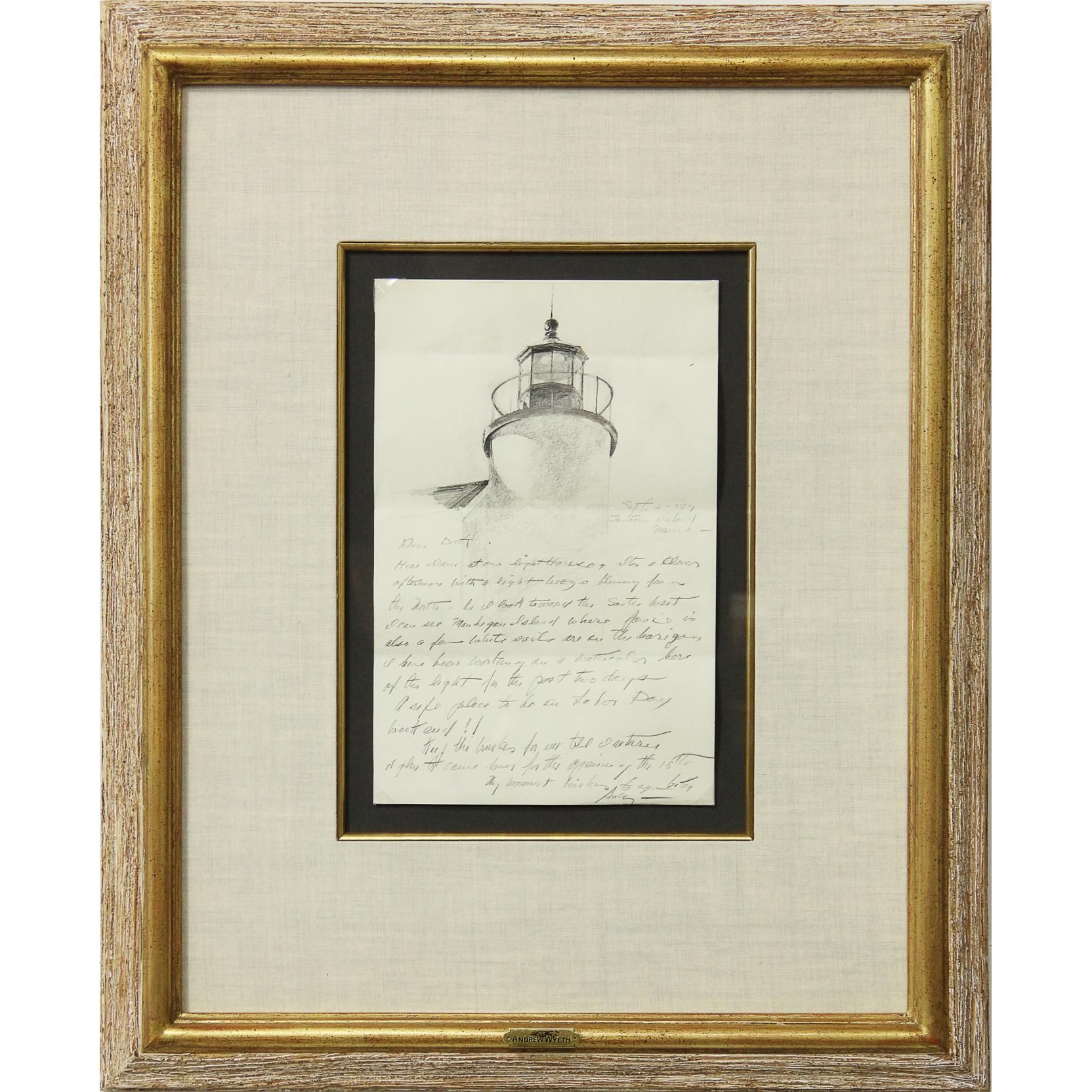Andrew wyeth 19172009 letter with drawing sold 6000
