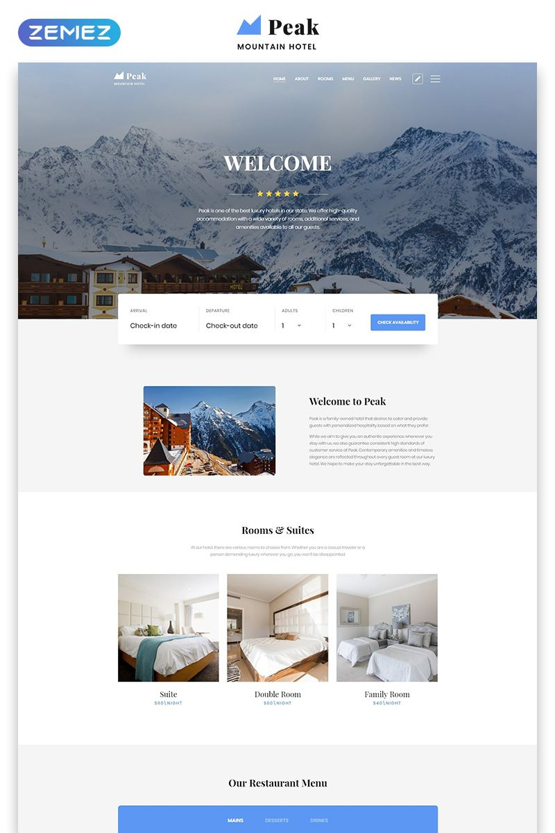 Peak Hotels One Page Clean Html Landing Page Template Landing