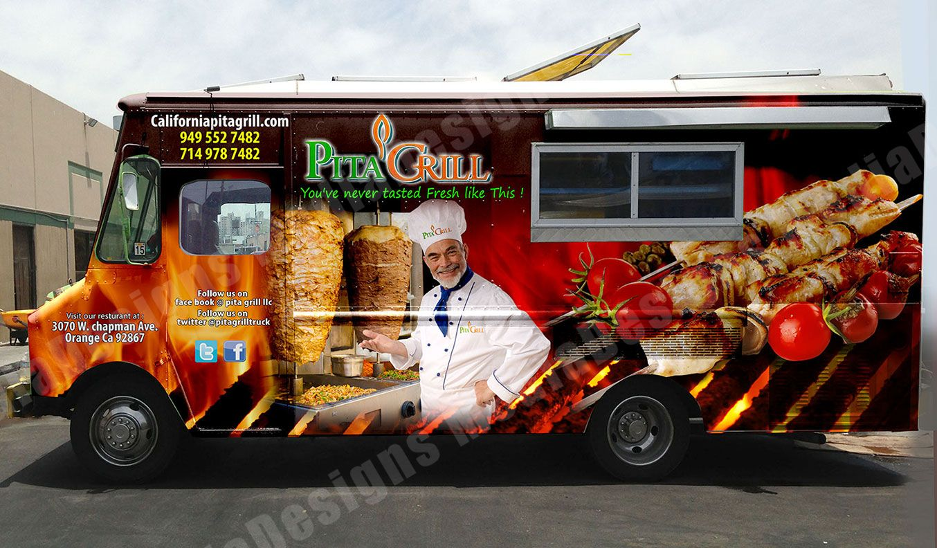 3d wrap design for a food truck vehicle wraps for Food truck layout