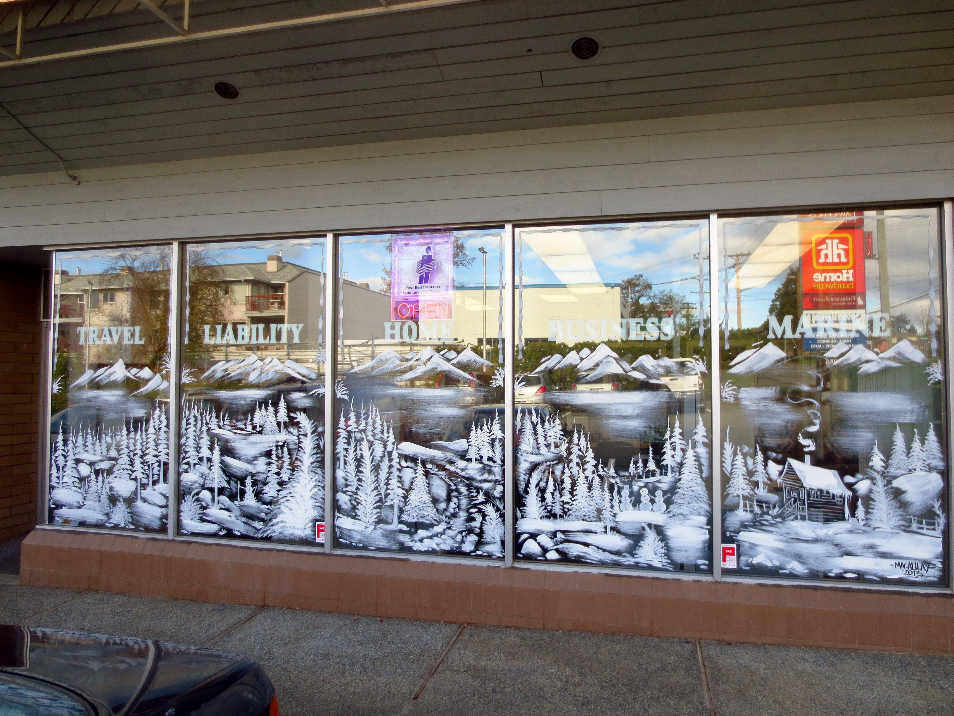 Christmas Window Art Painted On Gl