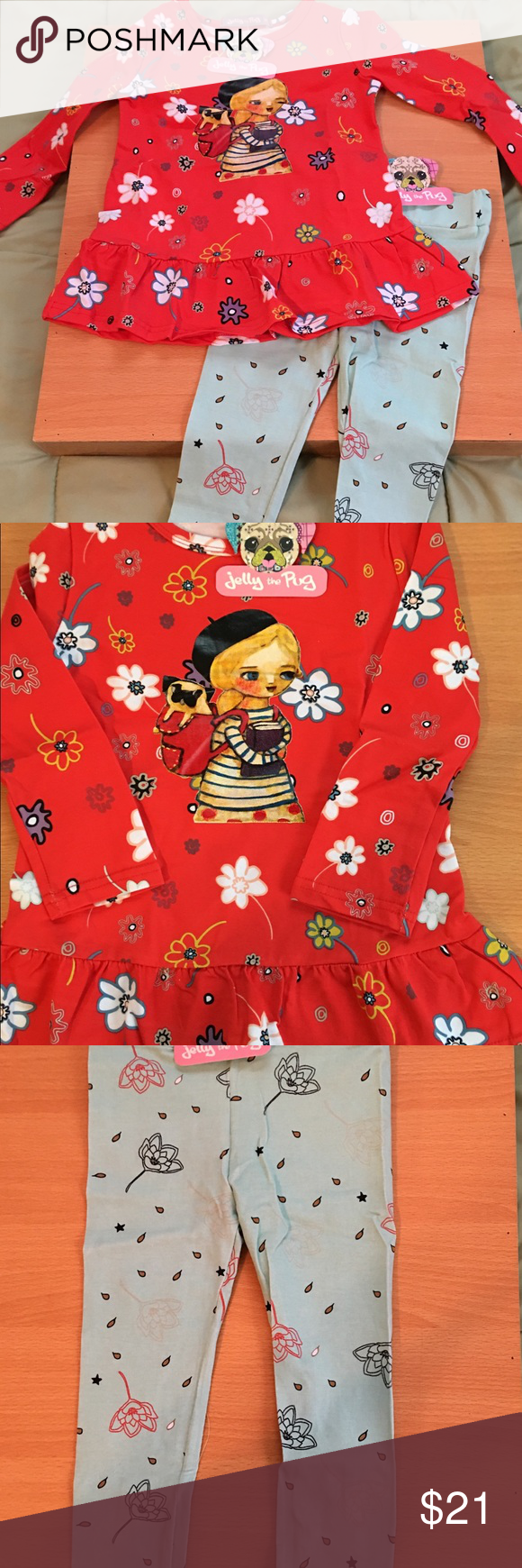 34f262f2cbd55 JELLY THE PUG TODDLER GIRLS TWO PIECE OUTFIT Jelly The Pug Persimmon Floral  Ruth Dress and
