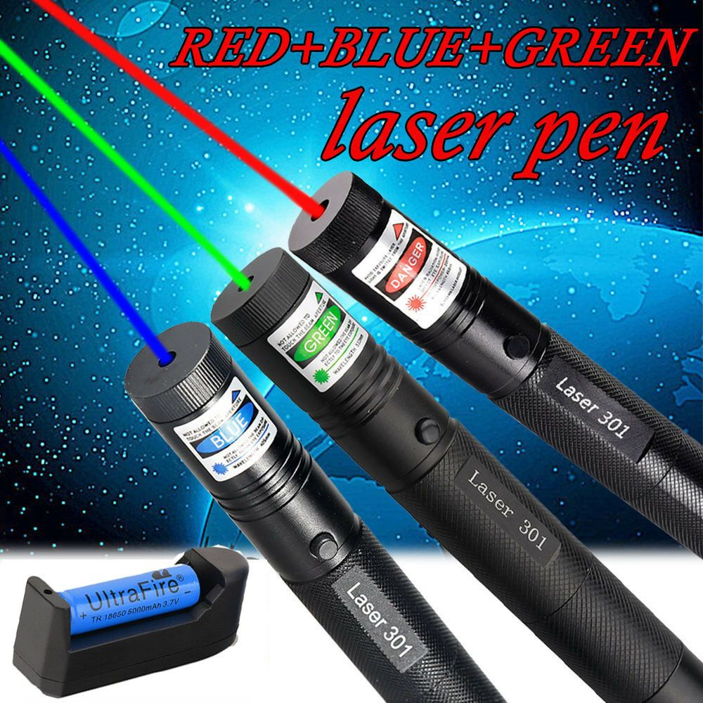 3PCS 50Miles Green+Blue+Red Zoom Laser Pointer Pen Visible Beam 18650 Lazer USA