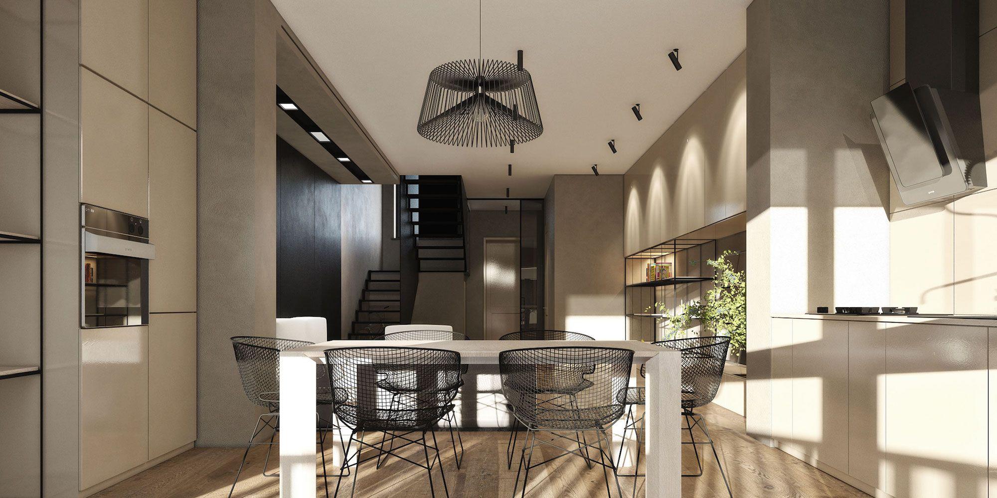 Stadthaus von Igor Sirotov Architect Visualisierte Esszimmer 3 ...