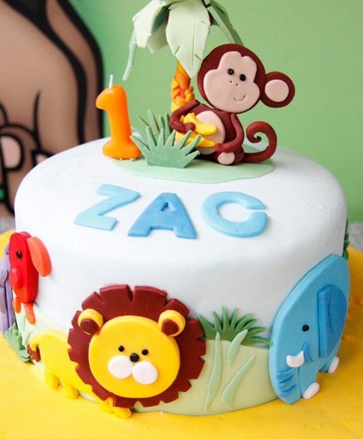 Baby Zoo Animals Birthday Cake Kids Birthday Cakes Pinterest