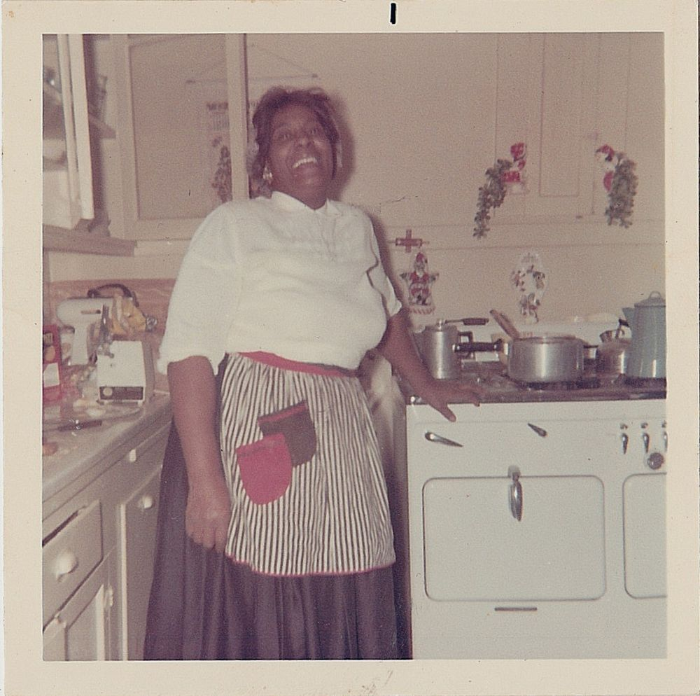 Retro Woman In Kitchen: Vintage Photograph African American Woman In Apron