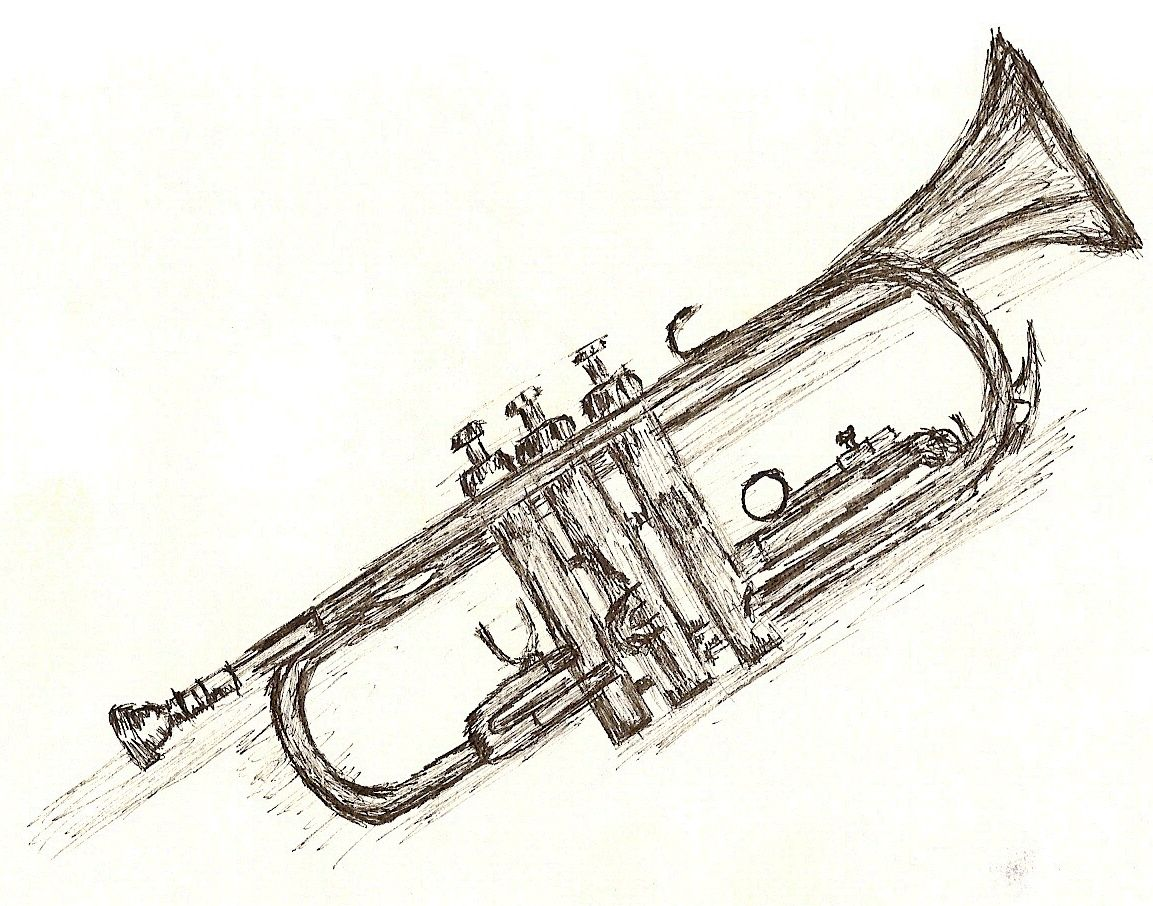 Uncategorized Drawing Of A Trumpet art drawings still life 2006 2015 swivelstone inked drawing of a trumpet its not perfect but i like it trumpet