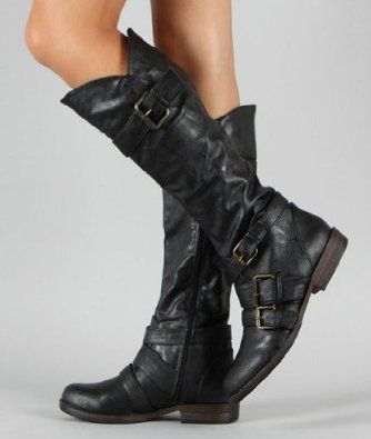1d104cc5e9e £39.99 Shoehorne Montage-06 - Womens Black Tall Buckle Riding knee High  Flat Boots 1 inch heel Biker Army - Avail in Ladies Size 3-8 UK   Amazon.co.uk  Shoes ...