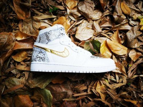 09c60f9ec53a74 Latest DJ Khaled x Surgeon x Air Jordan 1 Custom White Python and Gold -  Mysecretshoes