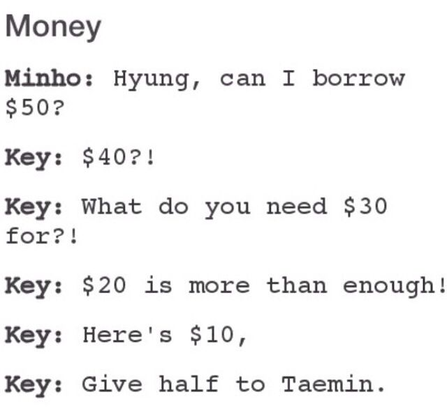 Key is just decreasing the money given to Minho from $50 to $10 haha ^^ Lol not forgetting his son Taemin ><