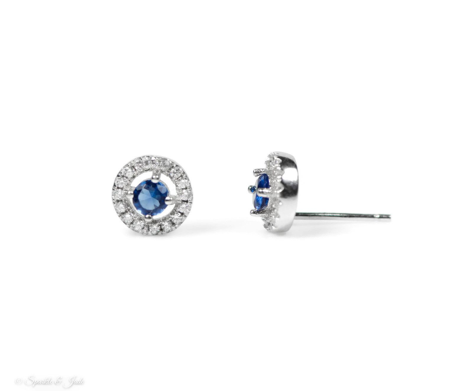 Sterling Silver Blue and White Halo Earrings