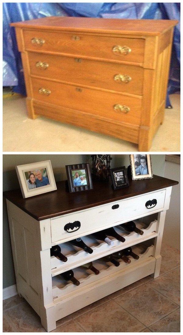 DIY Wine Rack Repurposed from Old Dresser: