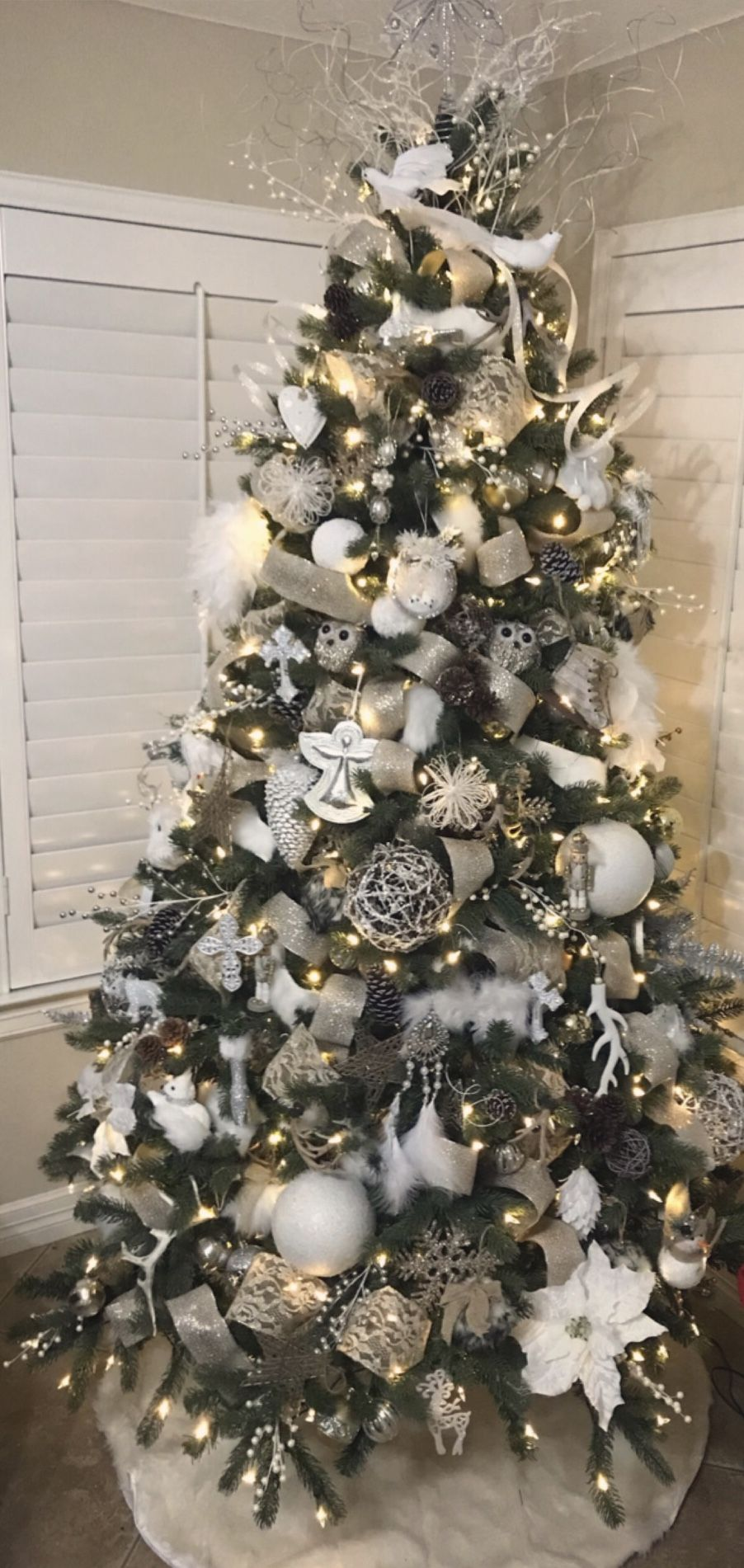 White Silver Gold Christmas Decor Rustic Glam Christmas Tree Glam Christmas Tree Gold Christmas Decorations Gold Christmas Tree Decorations