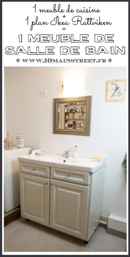 Un meuble de cuisine + un plan Ikea rattviken \u003d un meuble de salle - Meuble De Salle De Bain Sans Vasque