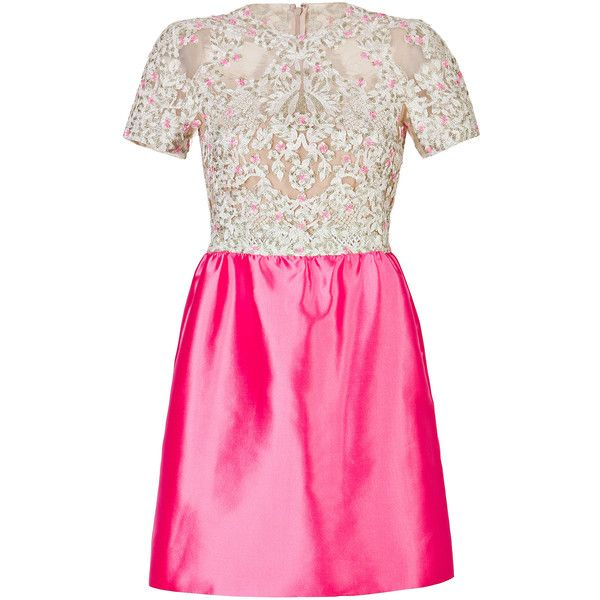 Valentino Silk Embellished Bodice Dress in Ivory and Pink (16 465 SEK) ❤ liked on Polyvore featuring dresses, vestidos, valentino, pink, silk dress, pink dress, evening dresses, ivory dress and special occasion dresses