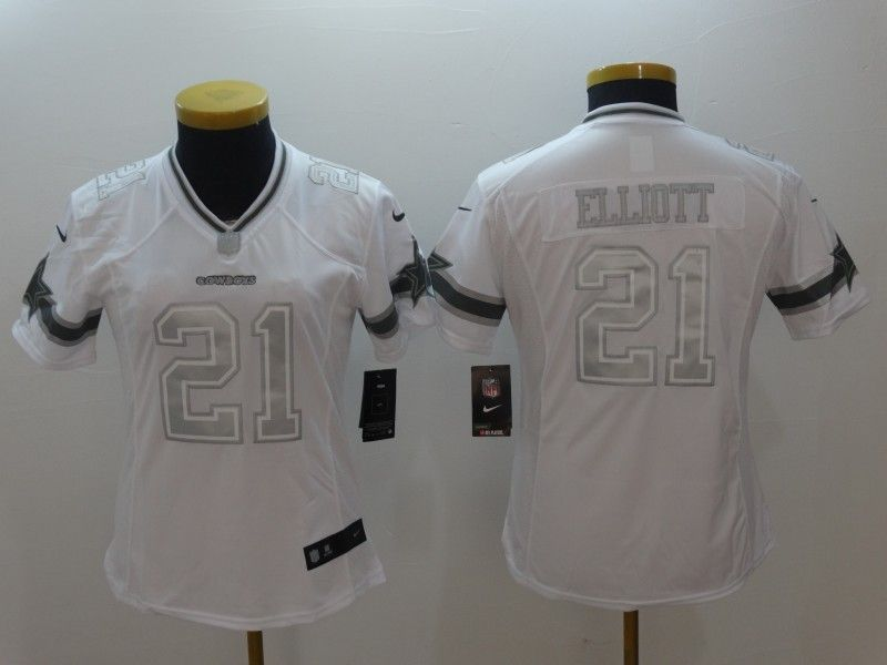 Womens Dallas Cowboys 21 Ezekiel Elliott White Nike Salute TO Service  Jerseys f4097769b