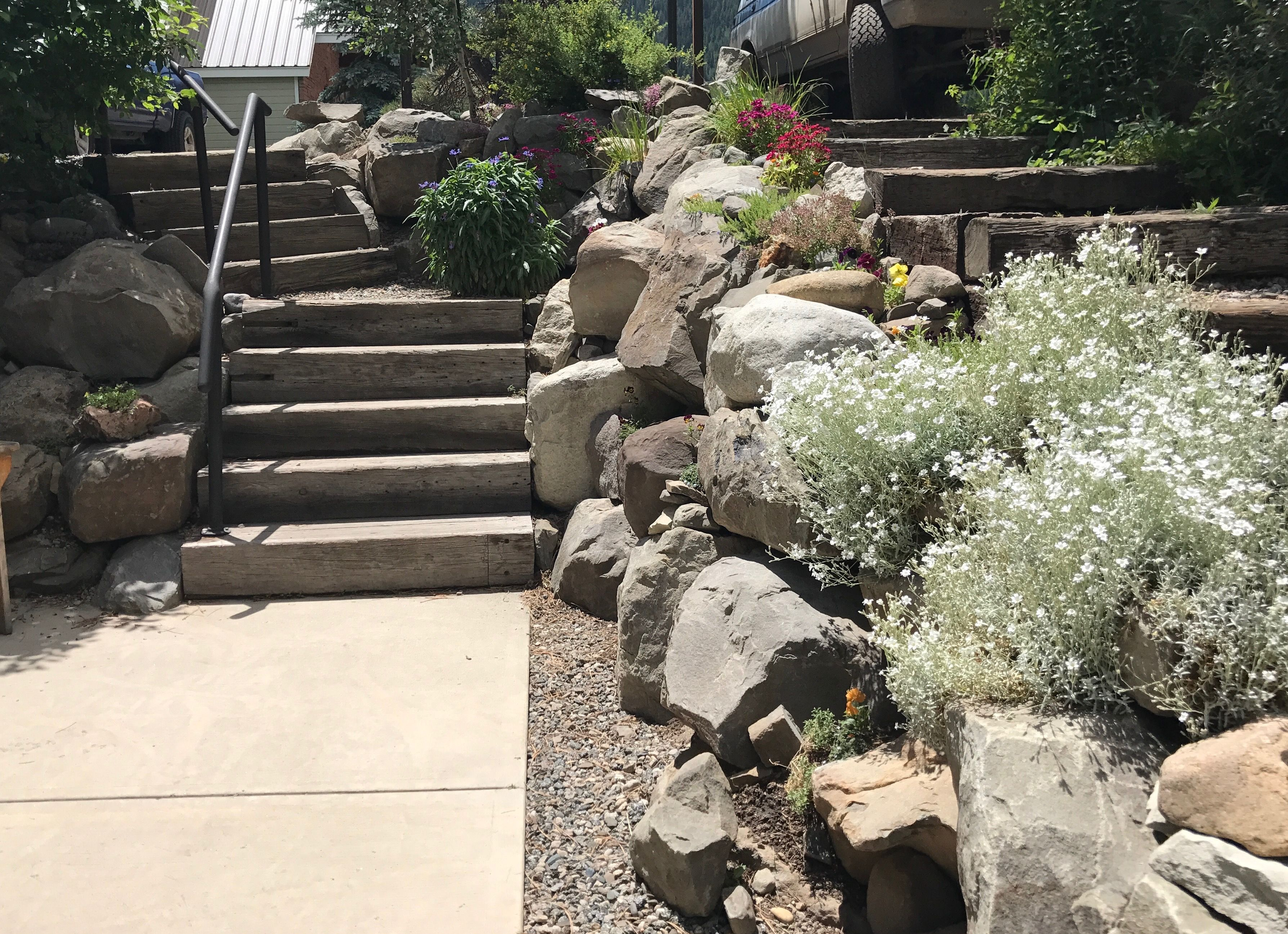 Best Landscape Stair Stone Edging And Wildflowers Landscape 400 x 300
