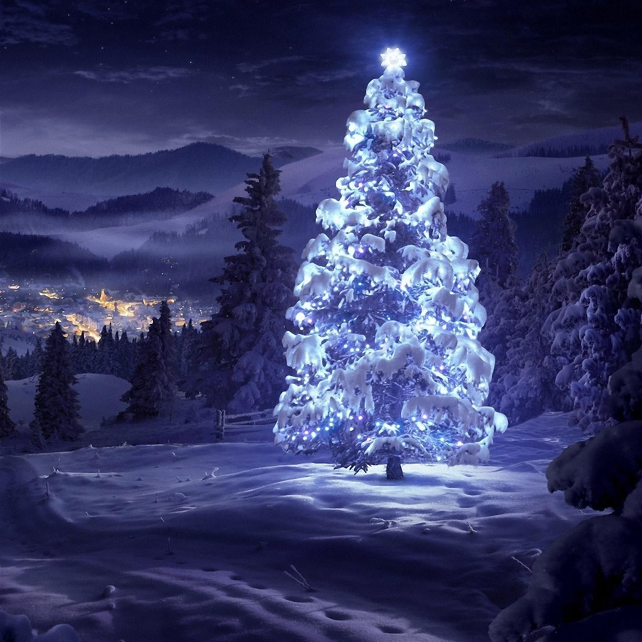 Blue Light Christmas Tree Ipad Wallpaper In 2019