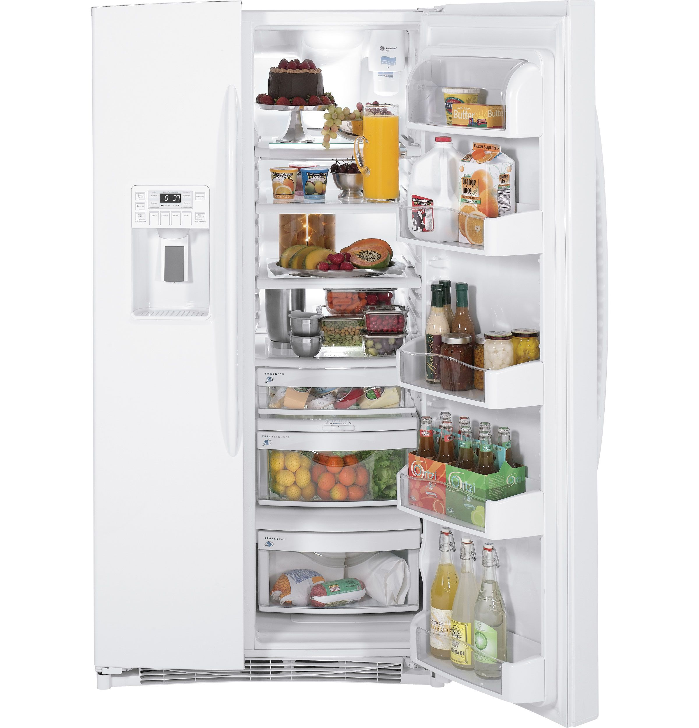 Pshf6pgzww Ge Profile Energy Star 25 9 Cu Ft Side By Side Refrigerator With Dispenser Ge Appliances Side By Side Refrigerator Refrigerator Energy Star
