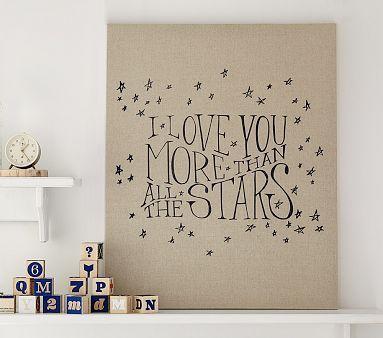 Stars Linen Canvas Nursery Art #pbkids
