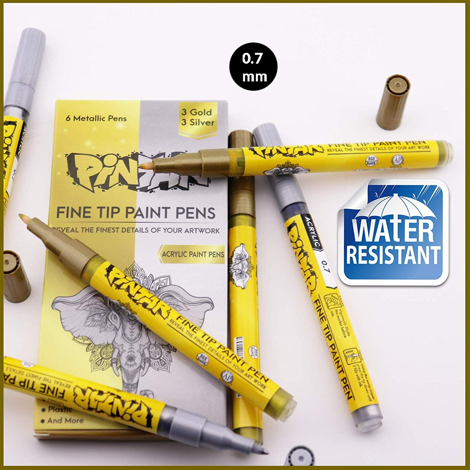 Metal and Ceramic PINTAR Water Resistant and Quick Drying Ink For Arts /& Crafts 6 Pack Glass Vibrant Colors for Wood 3 Gold And 3 Silver Acrylic Fine Tip Paint Pens For Rock Painting Art -