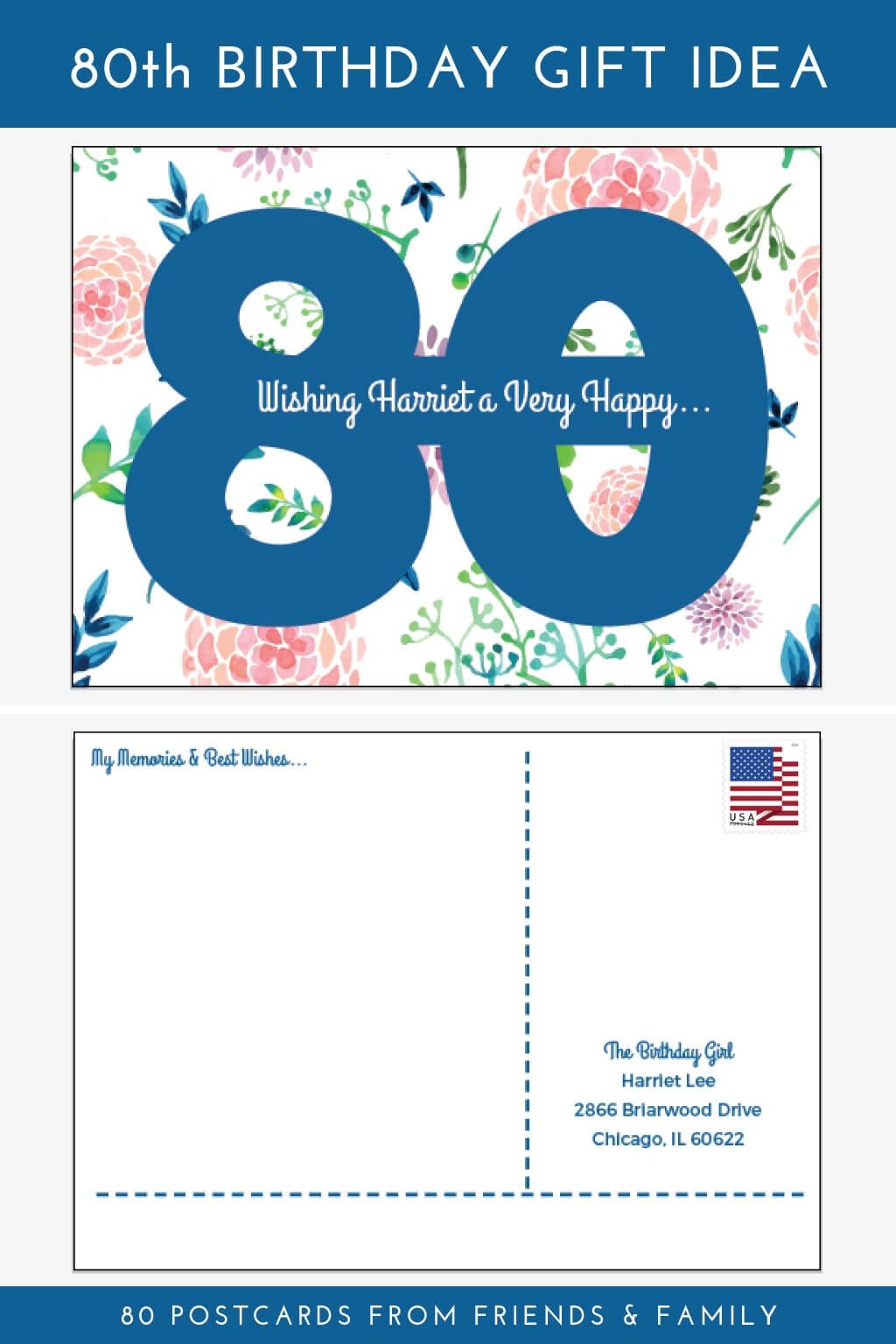 Personalized Birthday Postcards For 60th 65th 75th 70th 80th