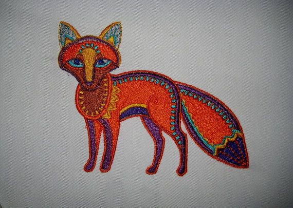Woodland Fox Embroidered Fabric Block By Tuesdayrose On