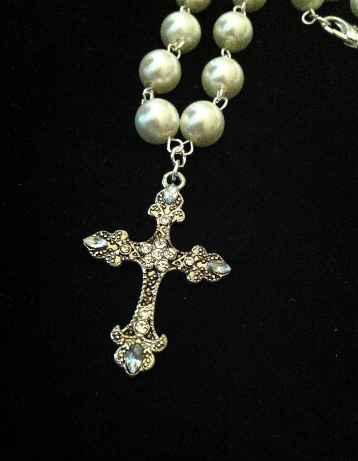 Wedding cross necklace pearl necklace with rhinestone cross pendant wedding cross necklace pearl necklace with rhinestone cross pendant first communion necklace 1043 3000 via etsy aloadofball Images