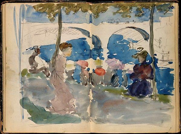 Maurice Brazil Prendergast, Paris Sketchbook 1891–94  Conté crayon, pencil, and watercolor sketches.