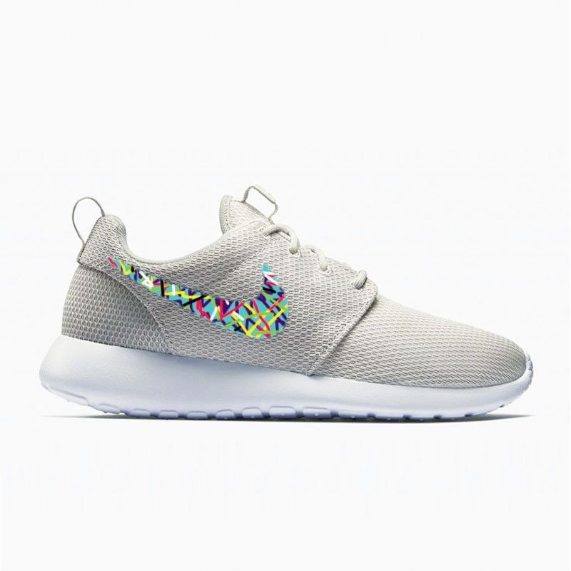 Womens Custom Nike Roshe Run shoes, Abstract painting design, colorful  minimalistic, teal with