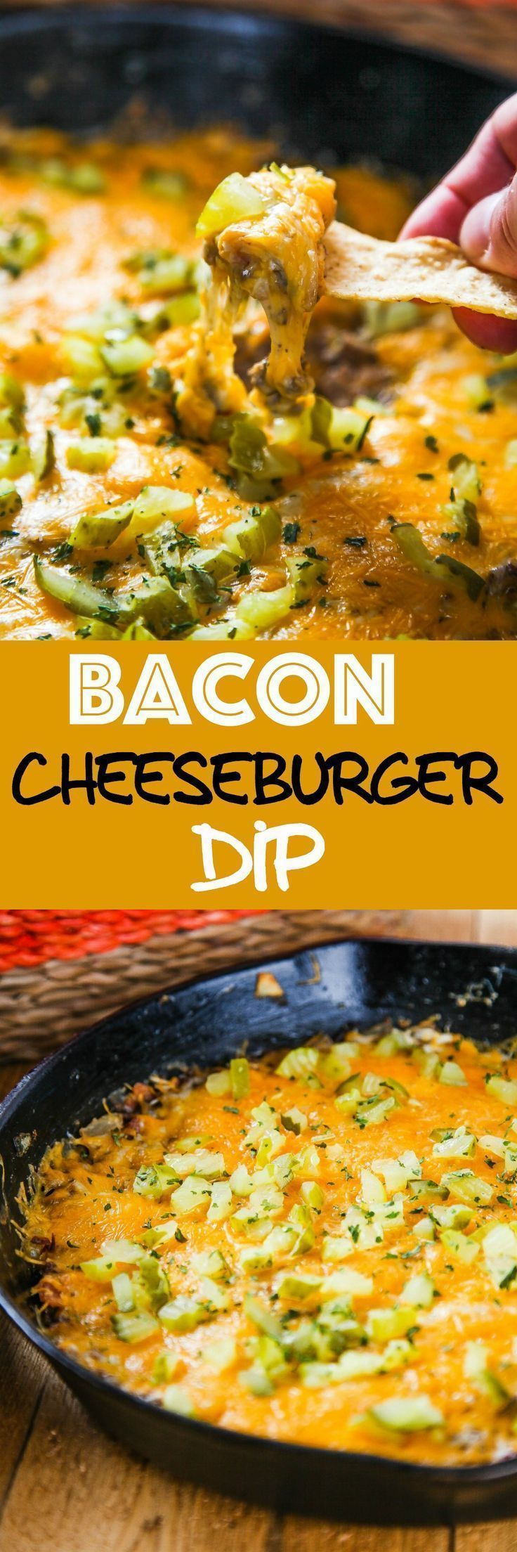 Bacon Cheeseburger Dip: Creamy cheese, crispy bacon, and flavorful ground beef come together in thi