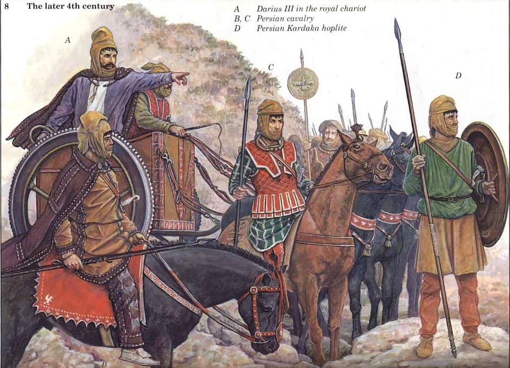 The later 4th century: A. Darius III in the royal chariot ... Ancient Persian Army