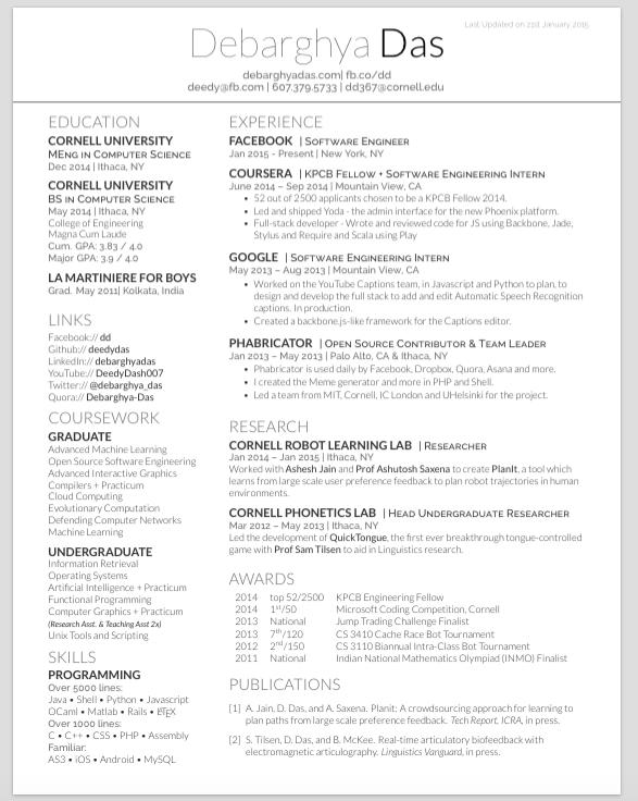 Resume Templates Overleaf Overleaf Resume Resumetemplates Templates One Page Resume Template Resume Templates Curriculum Vitae Template