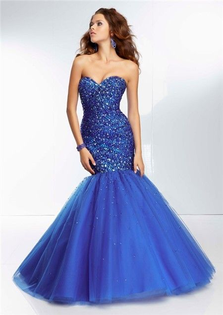 Fitted Mermaid Sweetheart Long Royal Blue Tulle Beaded Prom Dress ...