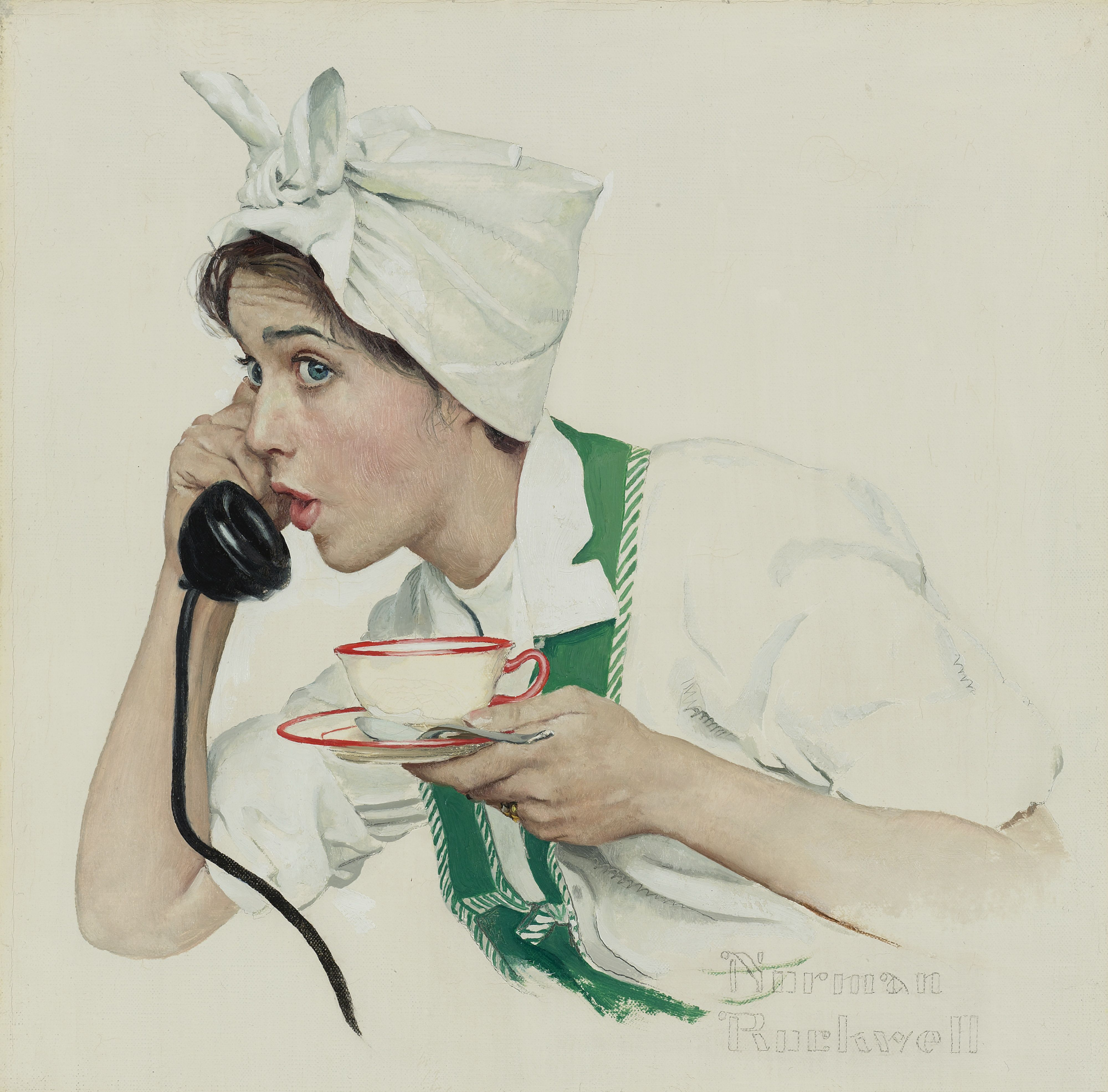 House Wife at Tea Break, Norman Rockwell painting, 1958 - one of series of five paintings commissioned especially for Red Rose Tea advertising by Brooke Bond