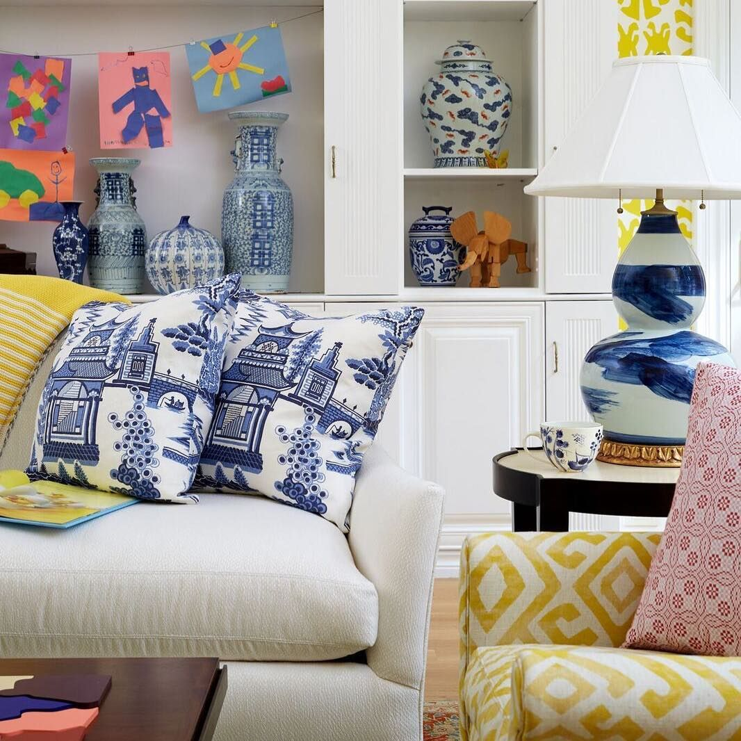 The DC Design House yellow and blue living room by Home on Cameron ...