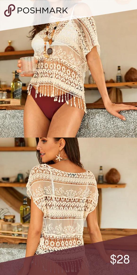 Fringe Trim Mesh Insert Guipure Lace Cover Up Boho style with fringe on hem. Swim Coverups