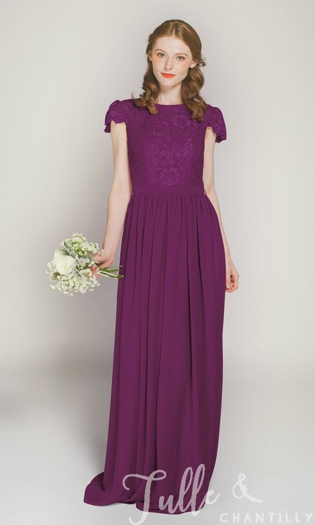 Cap Sleeves Long Lace and Chiffon Bridesmaid Dress TBQP322D | Pinterest