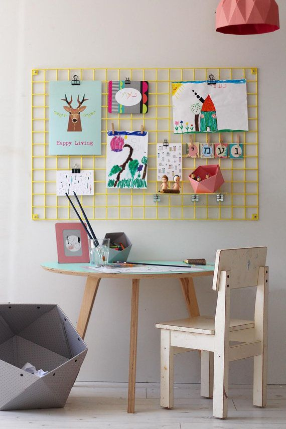 Yellow Wire Wall Organizer Iron Mesh Moodboard Kids Room Art Rack Memo Board Inspiration