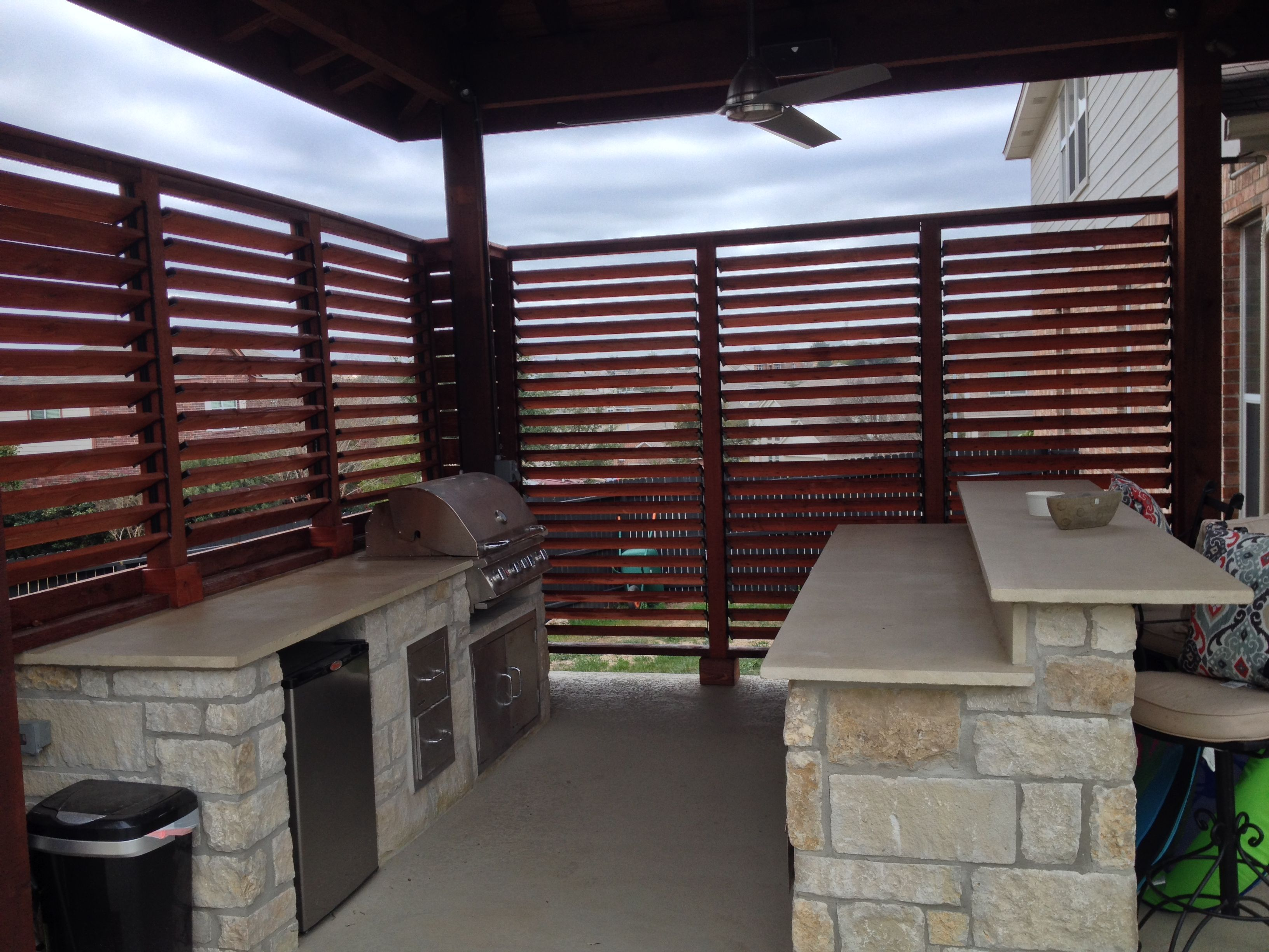 Beautiful Diy Outdoor Backyard Bbq Flex Fence Project By Darrell From San Antonio Texas With Louvered Panels Pergola Outdoor Shutters Fence Design