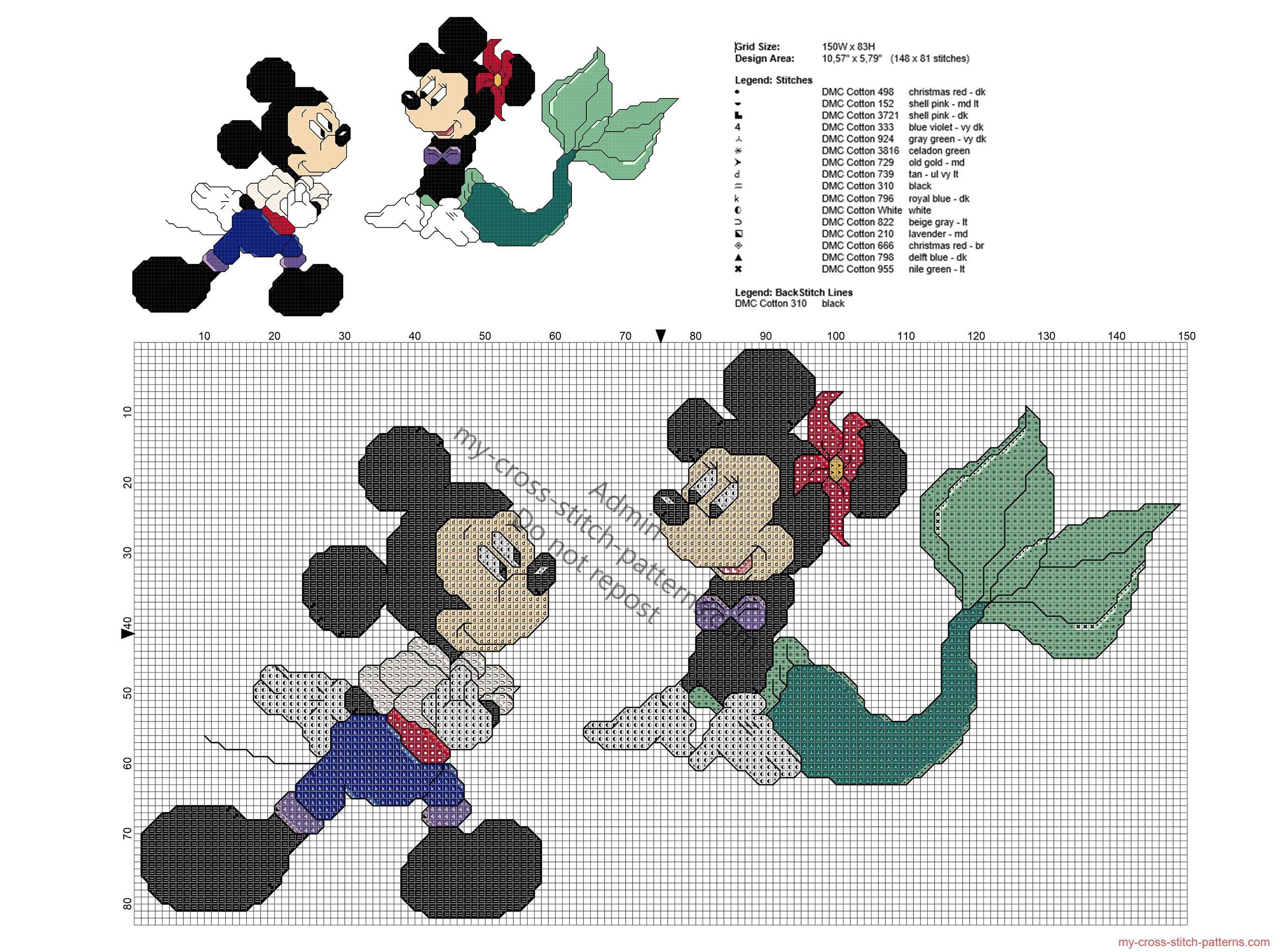 Disney Mickey y Minnie cómo La sirenita patrón punto de cruz ...