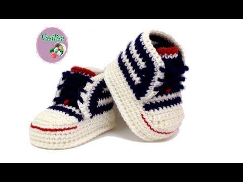 7c416330b4543 Tuto crochet   Converse chaussures bébé 1  zapatitos all stars crochet 1 -  YouTube